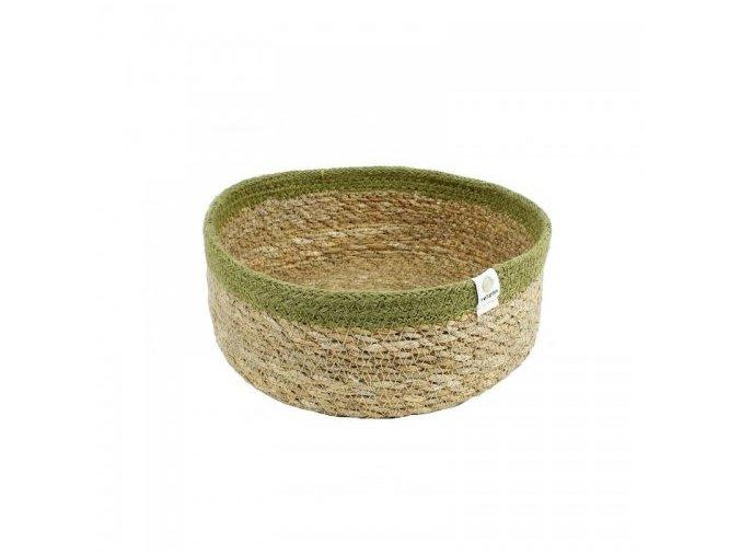 Košík z juty a mořské trávy Respiin Natural zelený - Střední