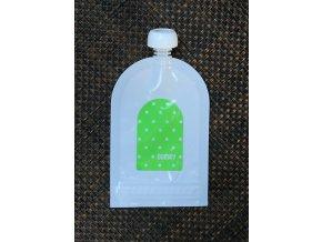Domky plnitelná kapsička - Zelený puntík